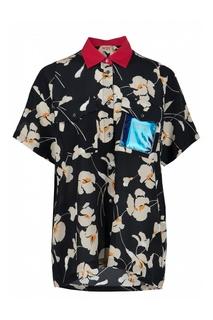 Черная рубашка с цветочным рисунком No.21