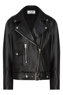 Кожаная куртка со скошенной молнией Acne Studios