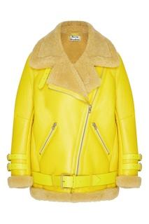 Желтая кожаная куртка с меховой отделкой Acne Studios