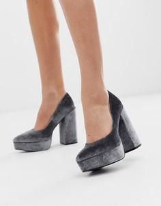 Серые бархатные туфли-лодочки на платформе и высоком каблуке ASOS DESIGN Prime - Серый