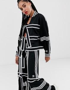 Черная спортивная куртка с завязками и полосками adidas Originals x Ji Won Choi - Черный