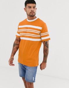 Оранжевая футболка с короткими рукавами и полосками Native Youth - Желтый
