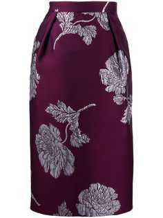 Alexander McQueen жаккардовая юбка-карандаш с цветочным узором
