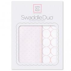 Набор пеленок SwaddleDesigns Swaddle Duo PP Dot,Mod Circle 2 шт. в упаковке, цвет: светло-розовый