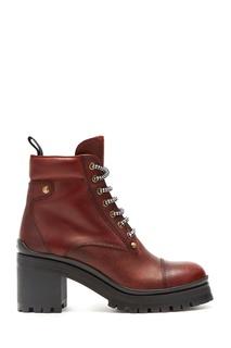 Коричневые ботинки на каблуке Miu Miu