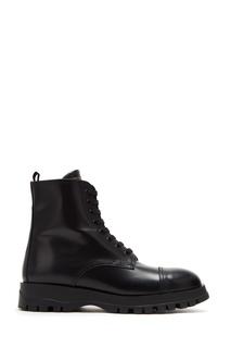 Черные ботинки на шнуровке Prada