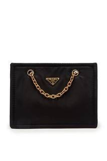 Черная сумка-тоут из нейлона Prada