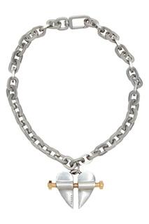 Серебристое колье с цепью и подвеской Prada