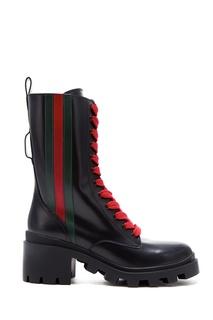 Высокие ботинки с контрастной шнуровкой и узором Web Gucci