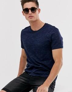 Темно-синяя футболка с неоново-голубыми элементами Esprit - Темно-синий