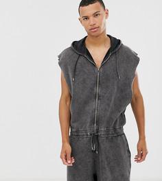 Серый комбинезон на молнии, с шортами, капюшоном, без рукавов и с эффектом кислотной стирки ASOS DESIGN Tall - Синий