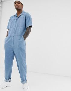 Выбеленный синий джинсовый комбинезон ASOS DESIGN - Синий
