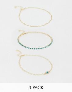 Комплект из 3 браслетов-цепочек с подвесками ASOS DESIGN - Золотой
