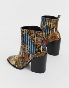 Цветные ботинки в стиле вестерн с эффектом змеиной кожи RAID Swallow - Мульти