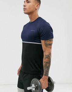 Спортивная футболка из быстросохнущей ткани с контрастной вставкой ASOS 4505 - Темно-синий