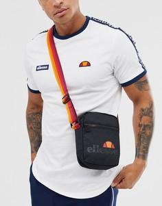Черная сумка через плечо с оранжевым ремешком ellesse Asolo - Черный