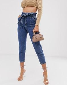 Выбеленные джинсы с присборенной талией River Island - Синий