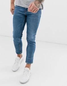 Суженные книзу узкие выбеленные джинсы HUGO 332/2 - Темно-синий