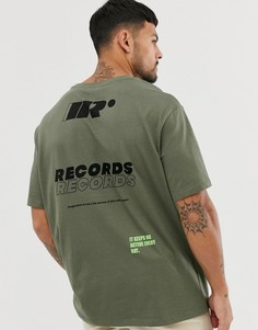 Oversize-футболка хаки с принтом Bershka - Зеленый