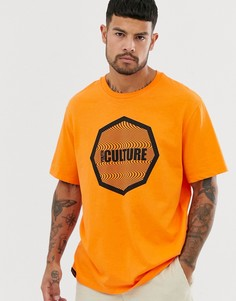 Неоново-оранжевая oversize-футболка с принтом Bershka - Оранжевый