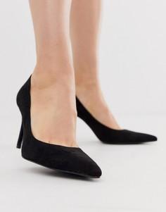 Черные туфли-лодочки на тонком каблуке Stradivarius - Черный