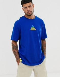 Синяя oversize-футболка с принтом треугольника Bershka - Синий