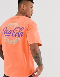 Оранжевая футболка с принтом Coca-Cola Bershka - Оранжевый