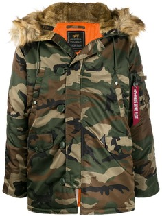 Alpha Industries camouflage print parka coat