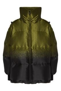 Зеленая стеганая куртка Fendi