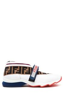 Белые кроссовки с монограммами Fendi