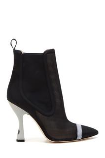Черные ботильоны на фигурном каблуке Fendi