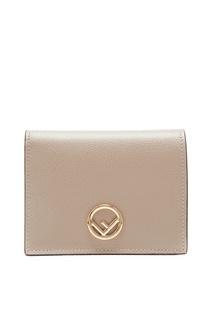 Серый кожаный кошелек с логотипом Fendi