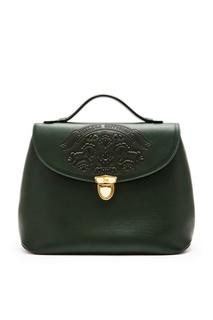 Темно-зеленая сумка с тиснением Ulyana Sergeenko