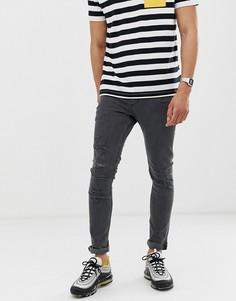 Серые рваные джинсы скинни New Look - Серый
