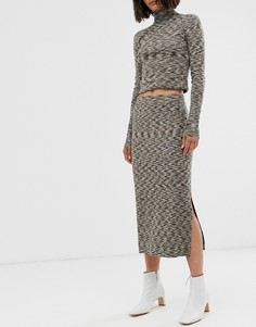 Узкая разноцветная трикотажная юбка Weekday - Мульти