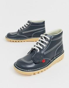 Темно-синие кожаные высокие ботинки KICKERS - Темно-синий
