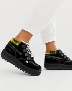 Высокие кожаные ботинки с замшевыми вставками KICKERS Kick Creepy - Черный
