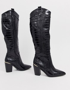 Черные сапоги в стиле вестерн с отделкой под крокодиловую кожу ASOS DESIGN Catch Up - Черный