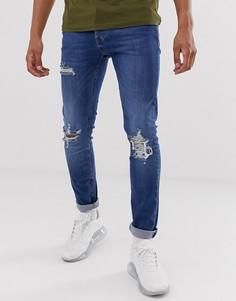 Темно-синие рваные джинсы скинни Topman - Синий