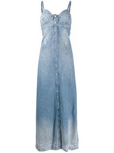 Diesel джинсовое платье макси с эффектом потертости