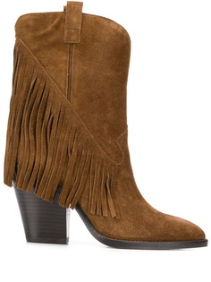 Ash fringed cowboy boots