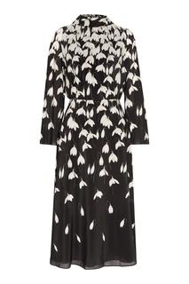 Черное платье с цветочным принтом Valentino