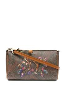 Коричневая сумка с узором и рисунком Etro