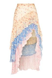 Разноцветная шелковая юбка Lisette Love Shack Fancy