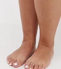 Серебристое кольцо на палец ноги с гравировкой ASOS DESIGN Curve - Серебряный