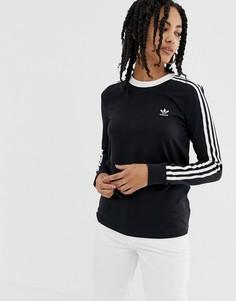 Черный лонгслив с тремя полосками adidas Originals adicolor - Черный