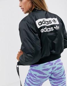 Черный короткий бомбер adidas Originals - Черный