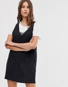 Выбеленное джинсовое платье-сарафан мини черного цвета Only - Черный
