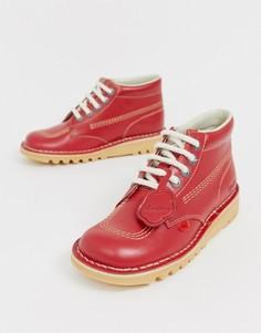 Кожаные высокие ботинки красного цвета на плоской подошве Kickers Kick Hi core - Красный