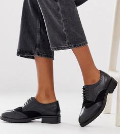 Кожаные броги на шнуровке для широкой стопы Dune Fellowe - Черный